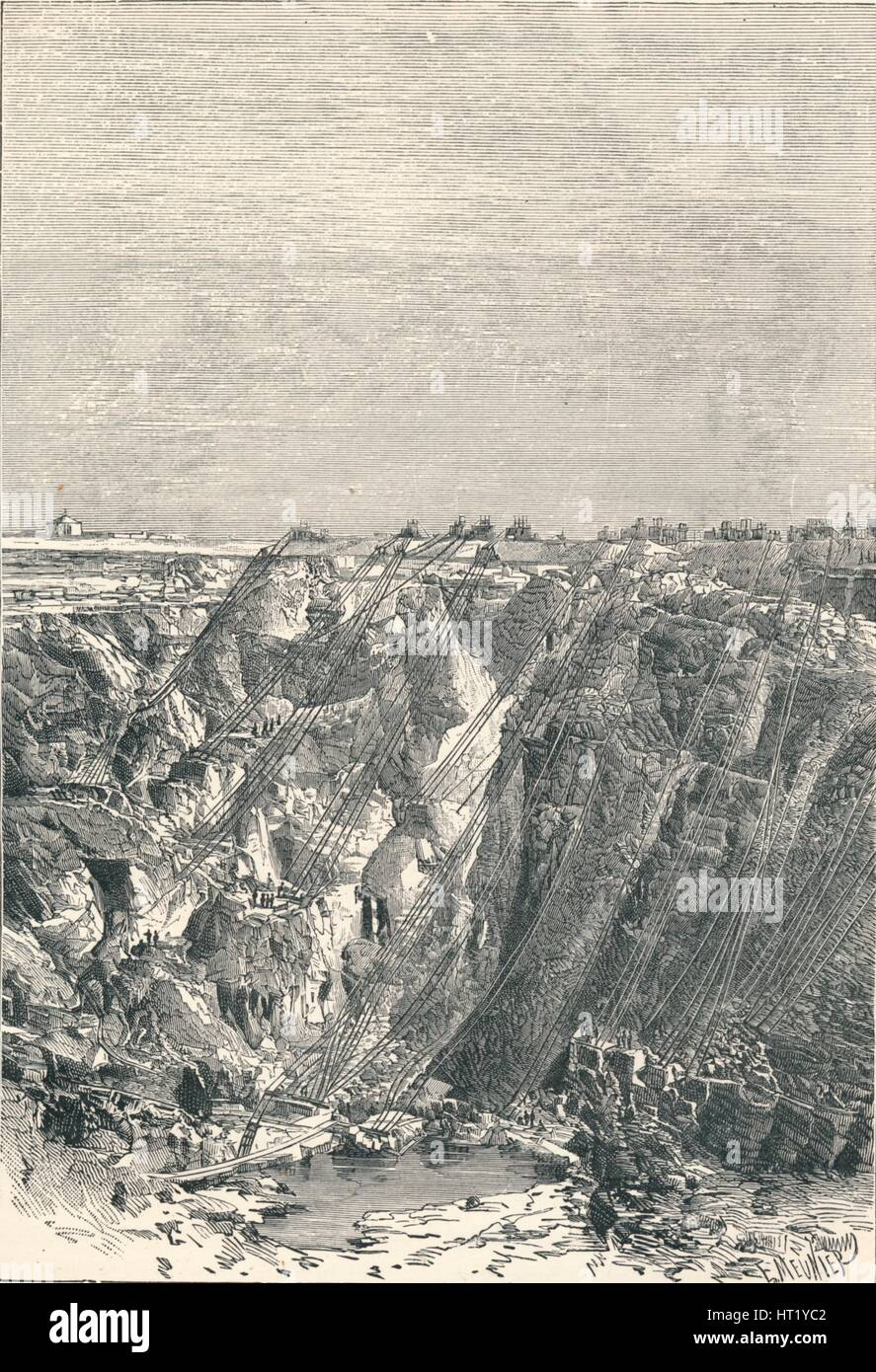 Kimberley: appearance of the diamond mine in 1880, 1896. Artist: Unknown - Stock Image