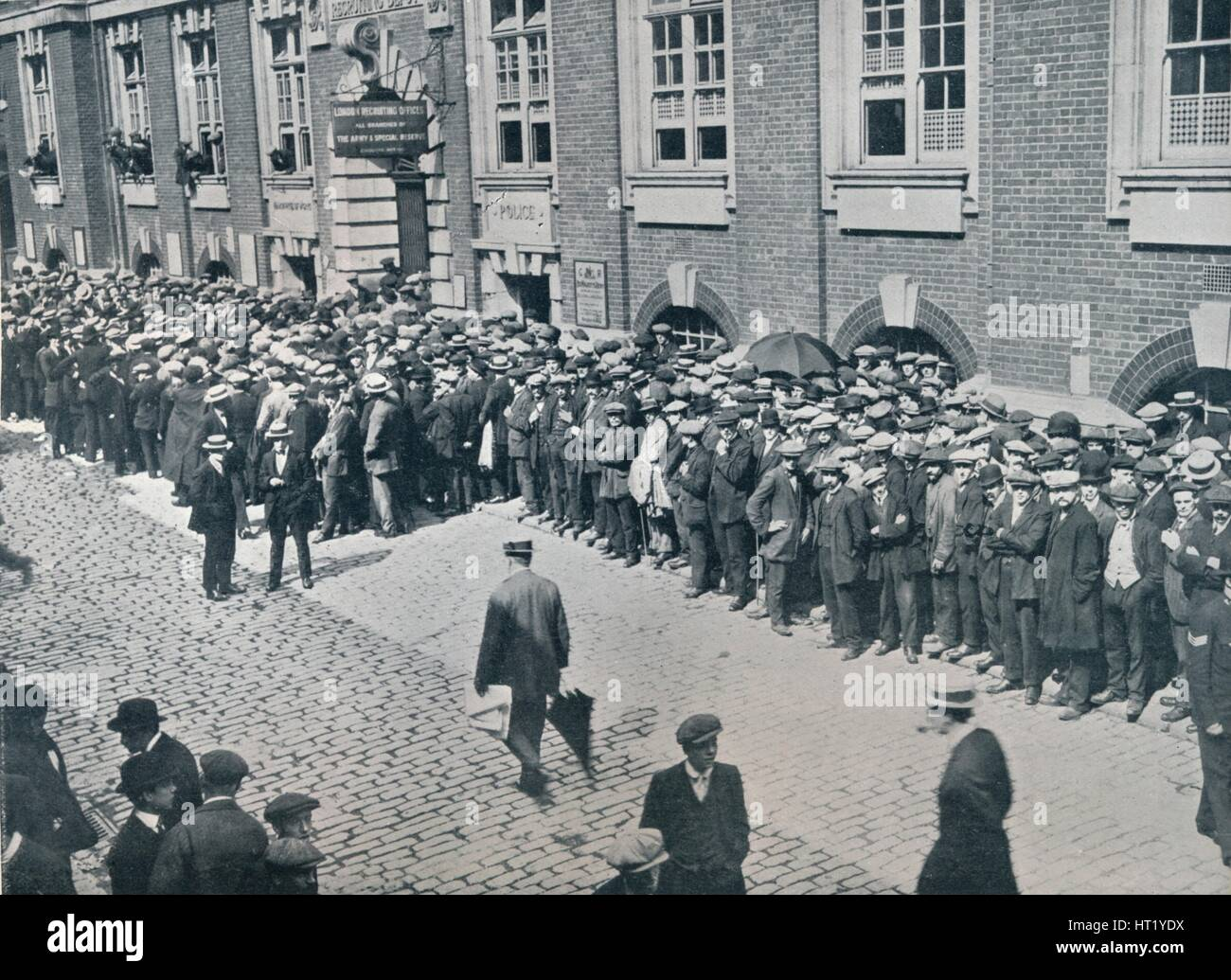 Recruits waiting outside the Central London Recruiting Depot, 1914. Artist: Unknown Stock Photo