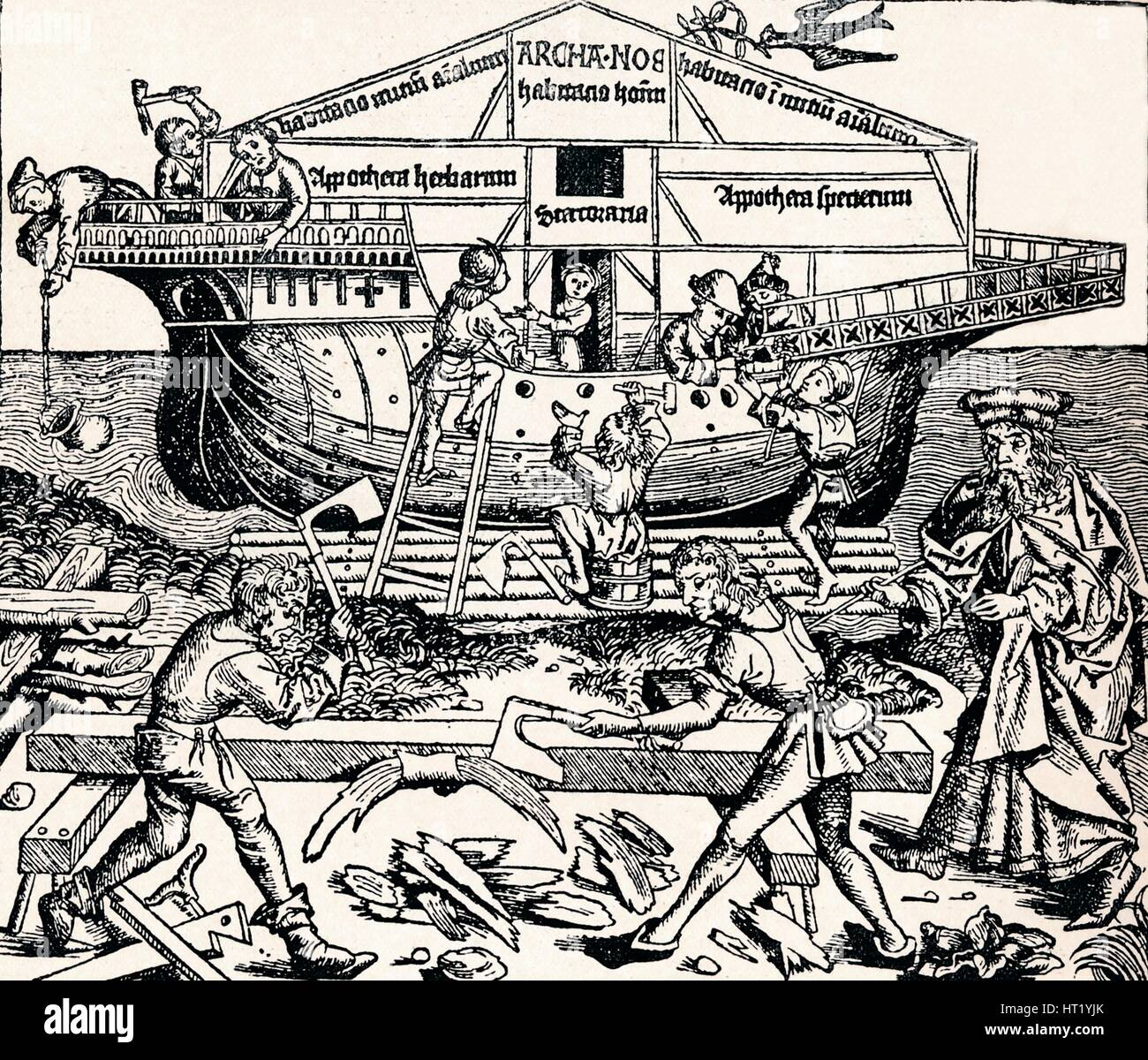 The Building of the Ark Superintended by Noah, (1493), 1903. Artist: Unknown - Stock Image