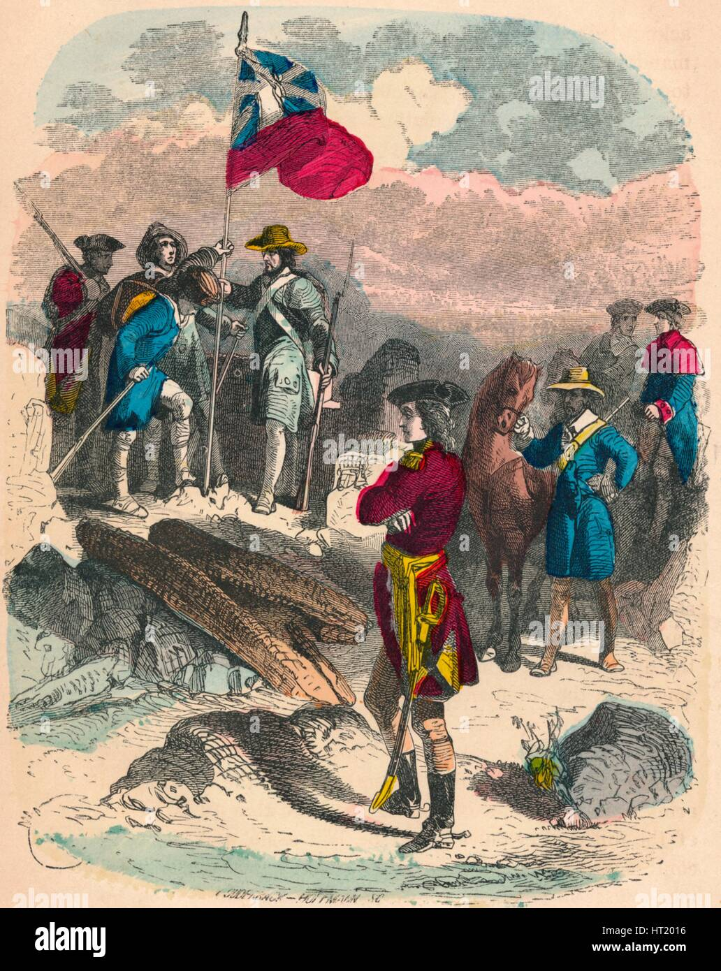 Planting of the Royal Flag on the Ruins of Fort Du Quesne, 1758. Artist: Unknown Stock Photo