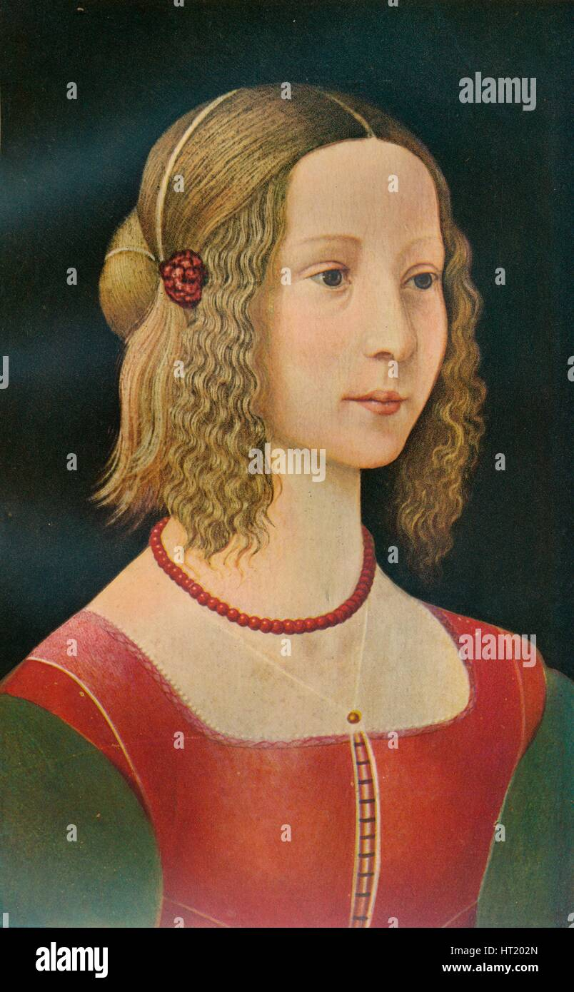 Portrait of a Girl, c1490, (1911). Artist: Unknown - Stock Image