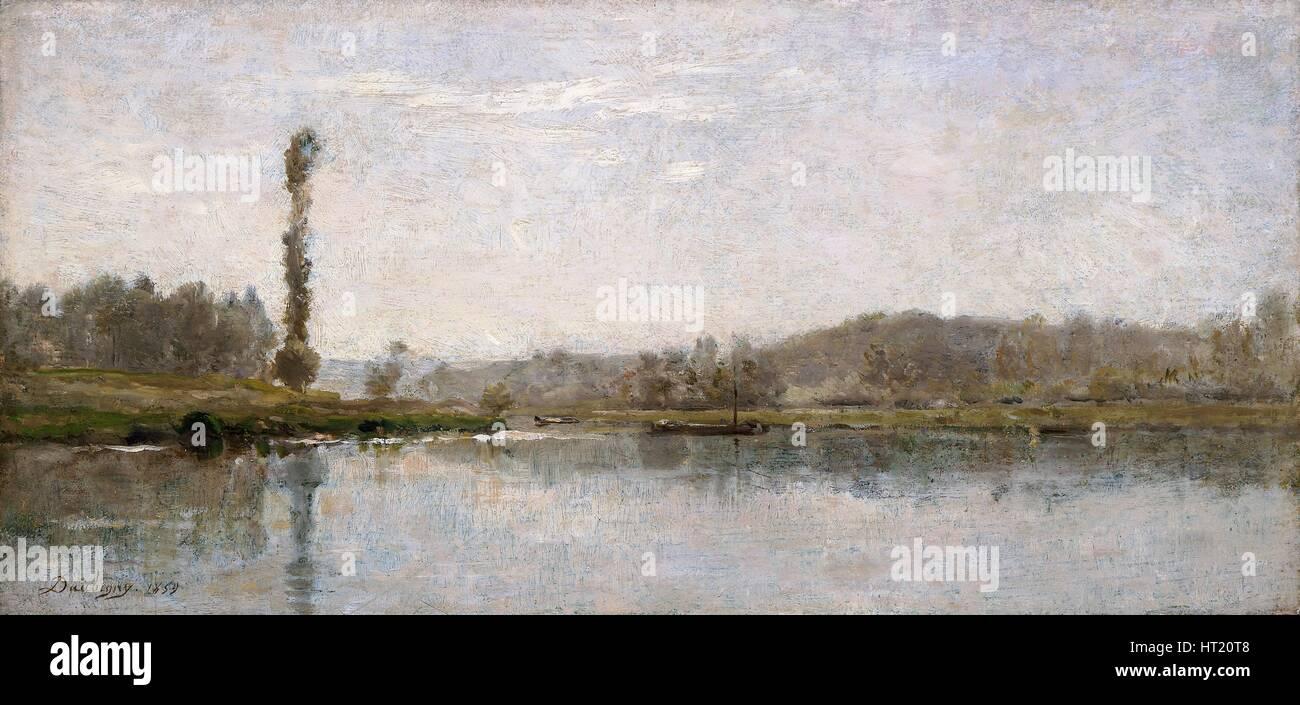 'Morning on the Oise, Auvers', 1837-1878. Artist: Charles Francois Daubigny. - Stock Image