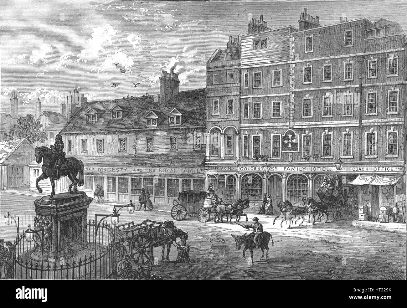 Charing Cross, 1750 (1897). Artists: Cassell & Co, Unknown. - Stock Image
