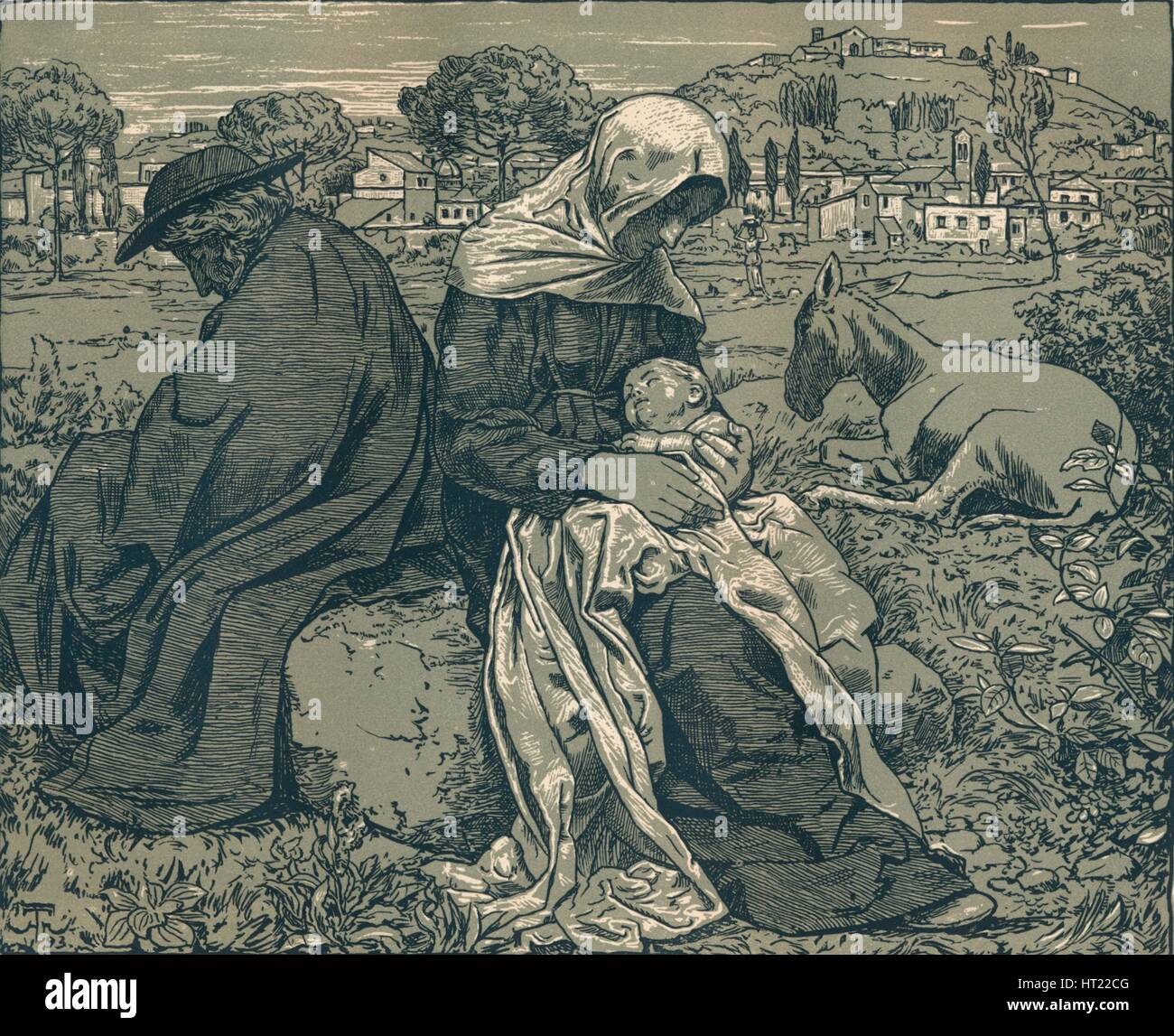 'Rest During the Flight into Egypt', c1897. Artist: Hans Thoma. - Stock Image