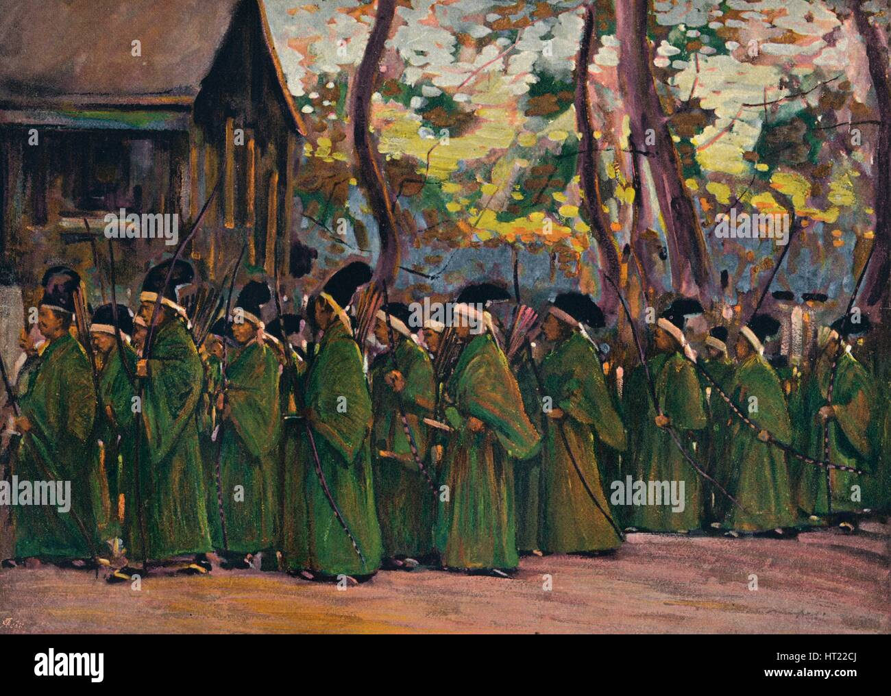 'Procession of Archers at Kioto', c1897. Artist: Mortimer L Menpes. - Stock Image