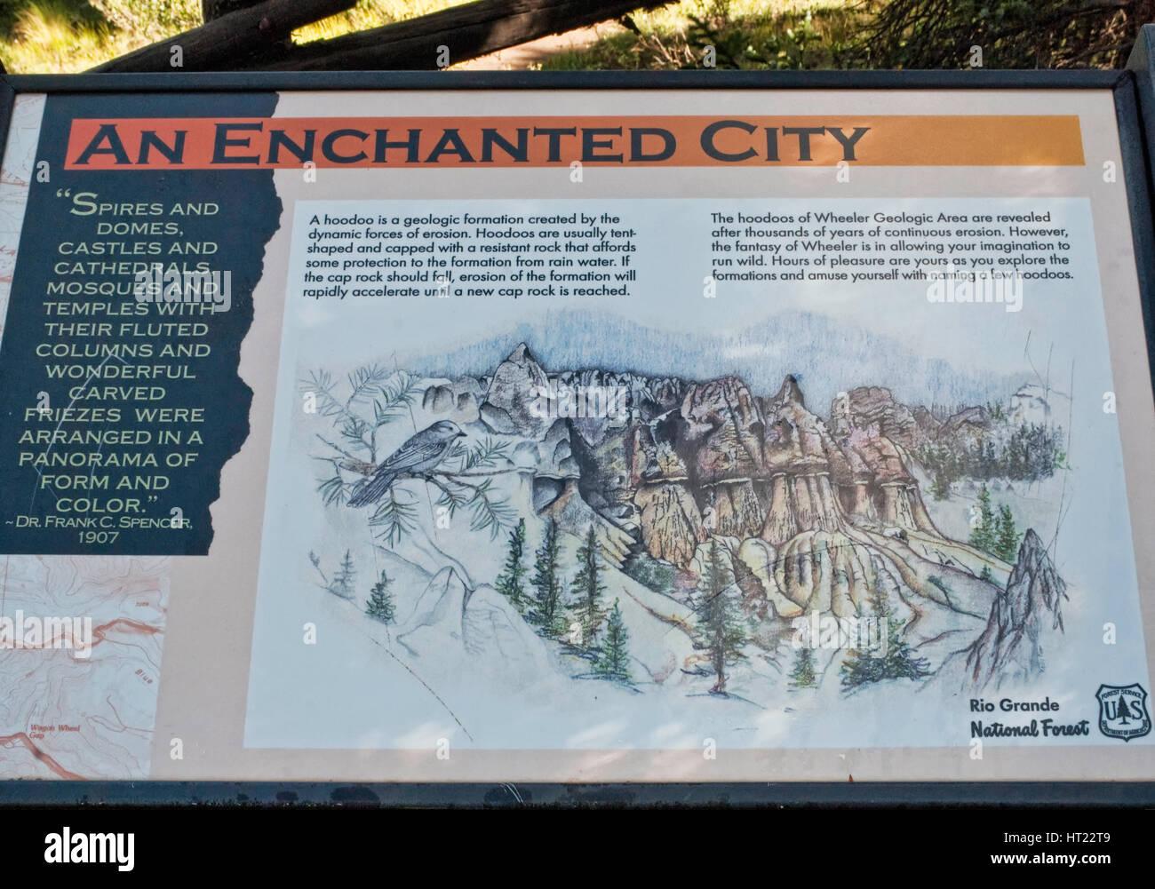 Sign at Wheeler Geologic Area at San Juan Mountains, Colorado, USA - Stock Image