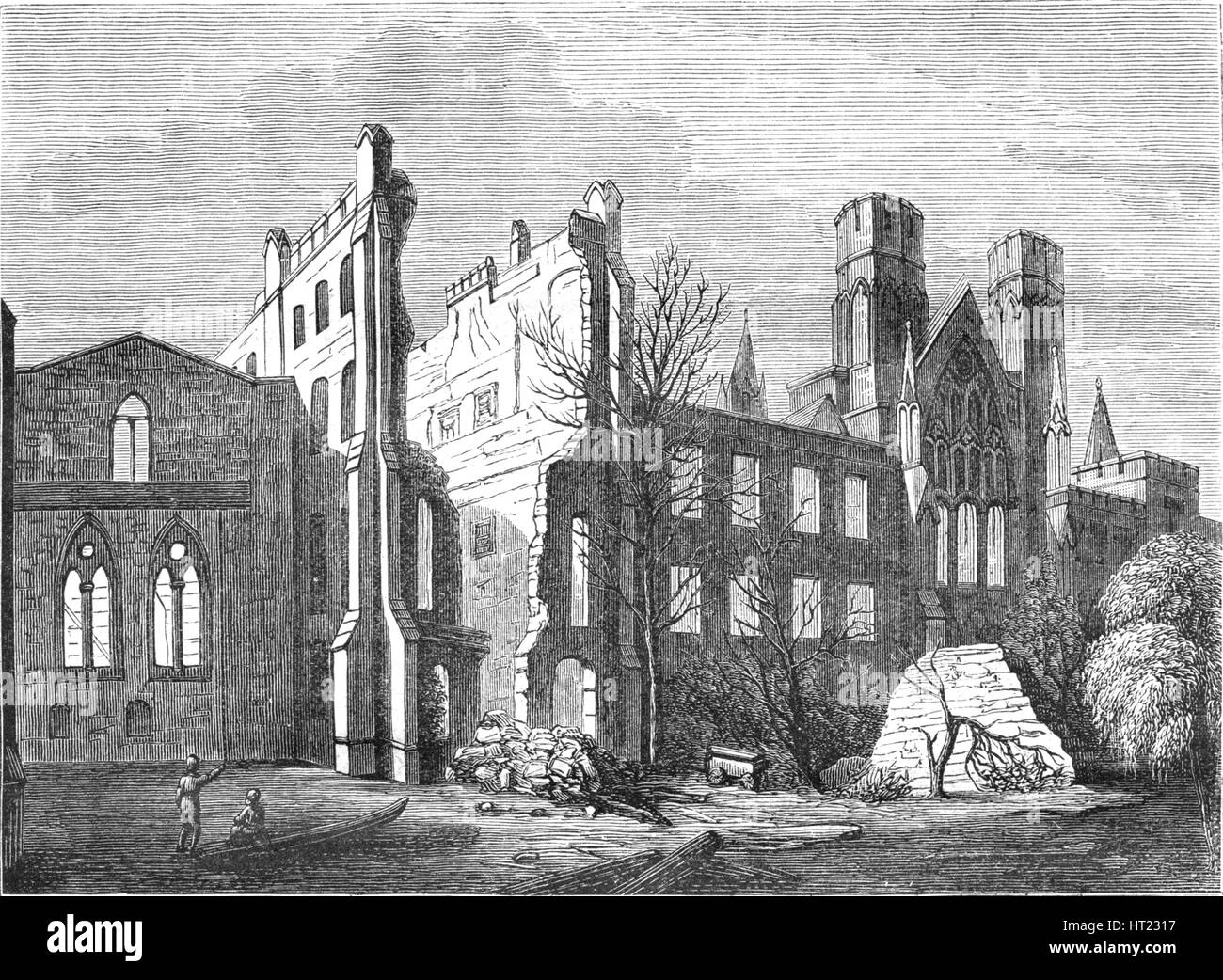 The Houses of Parliament after the fire in 1834, (1897). Artist: Unknown. - Stock Image