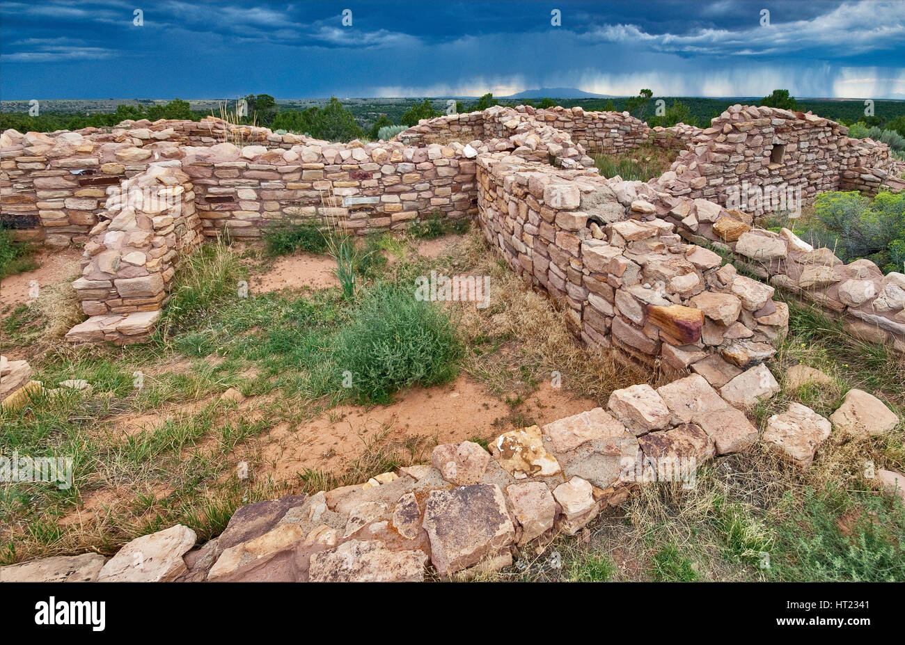 Summer thunderstorm over ruins of Lowry Pueblo, Anasazi ruins at Canyons of the Ancients National Monument, Colorado, - Stock Image