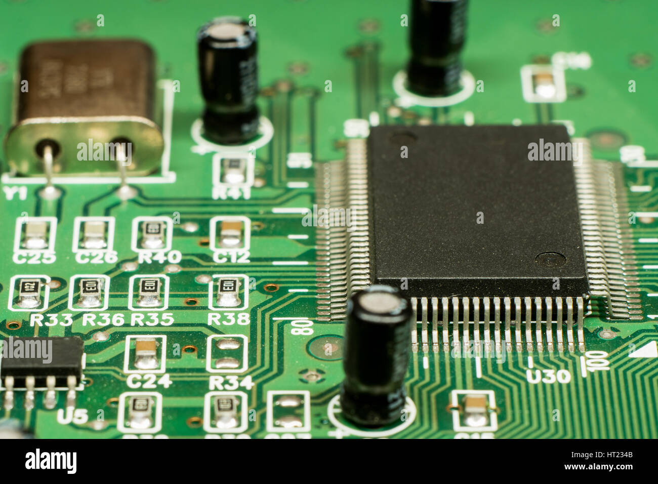 Smd Printed Electronic Circuit Board With Micro Controller And Stock Crystal Oscillator Circuits