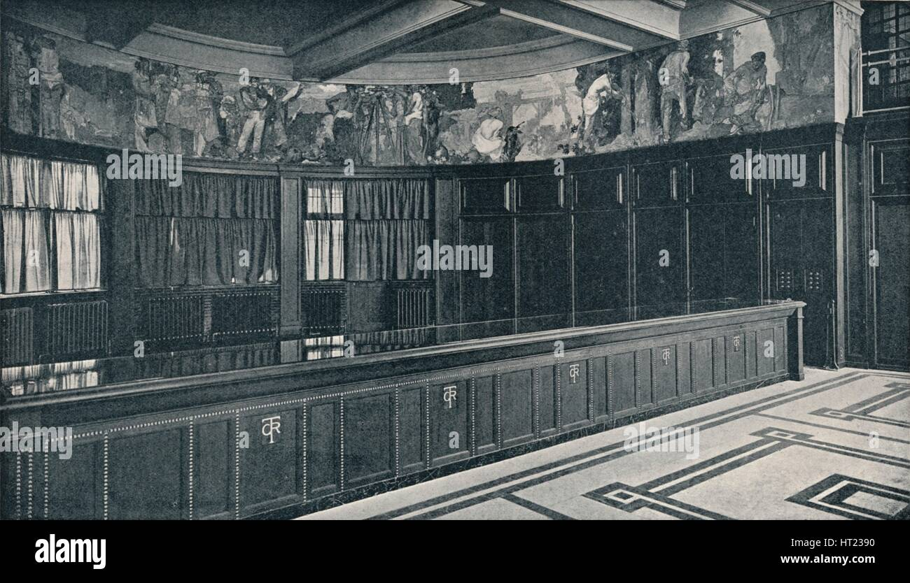 'Interior of Grand Trunk Railway's new London offices with tempera frieze by Frank Brangwyn ', c1909 - Stock Image
