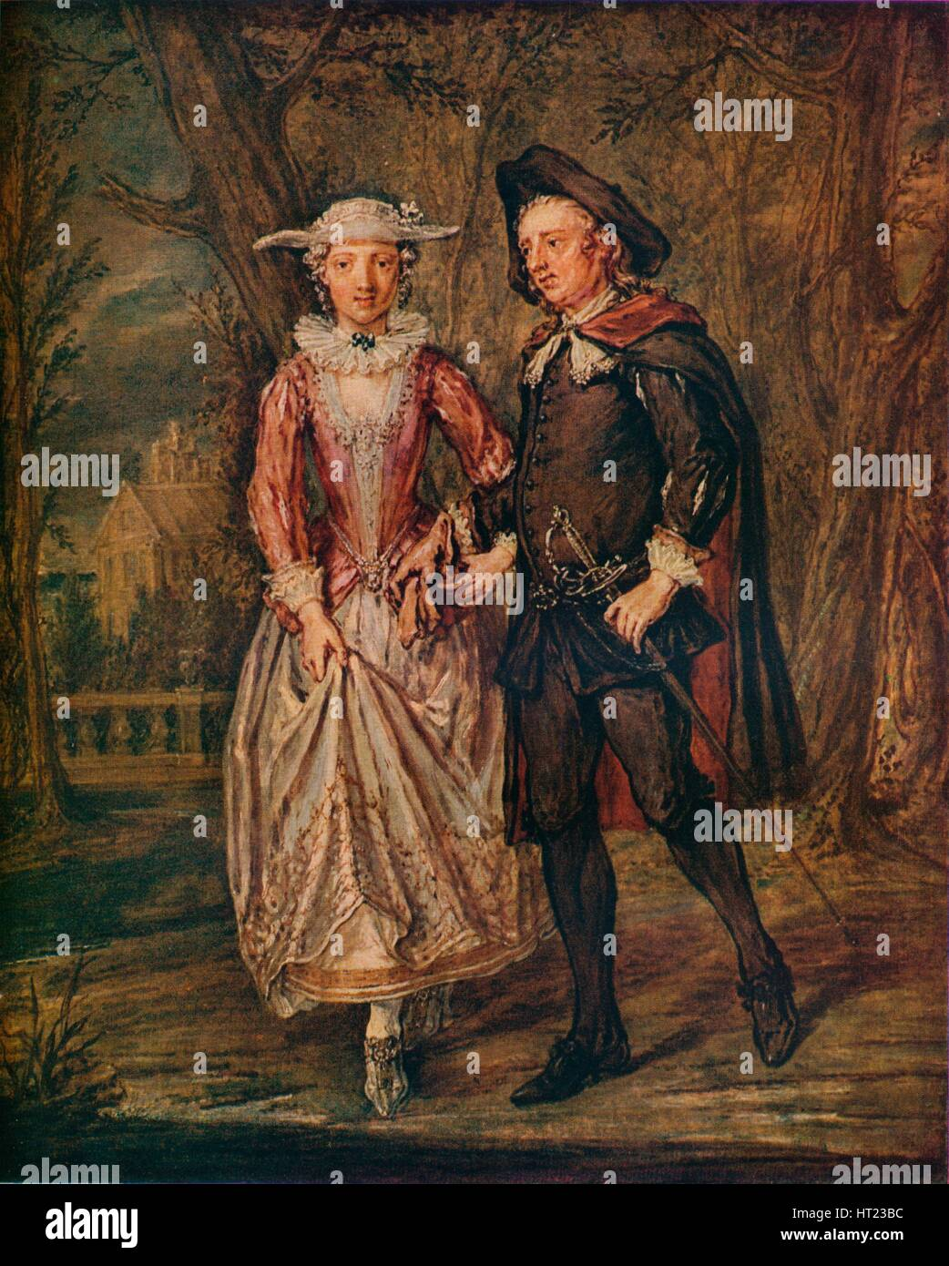 'Lovers in a Park', 1745 (1931). Artist: Marcellus Laroon the Younger. - Stock Image