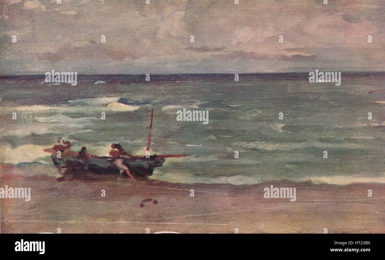 'Harmony in Blue and Silver: Beaching The Boat, Etretat', c1897. Artist: James Abbott McNeill Whistler. - Stock Image