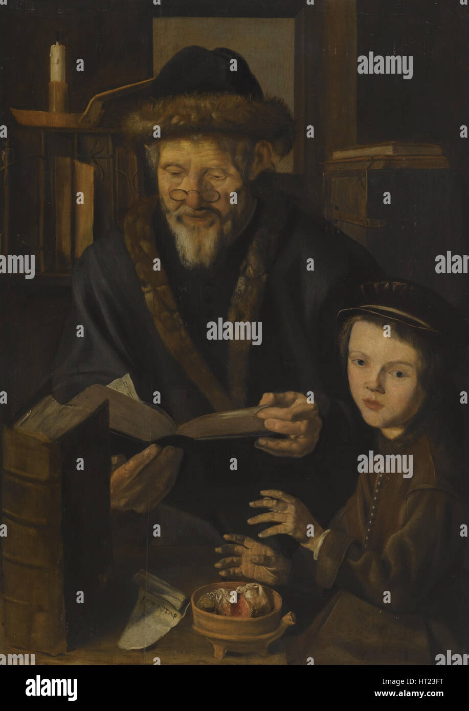 Philosopher and the Young Child. Artist: Woutersz., called Stap, Jan (1599-1663) - Stock Image