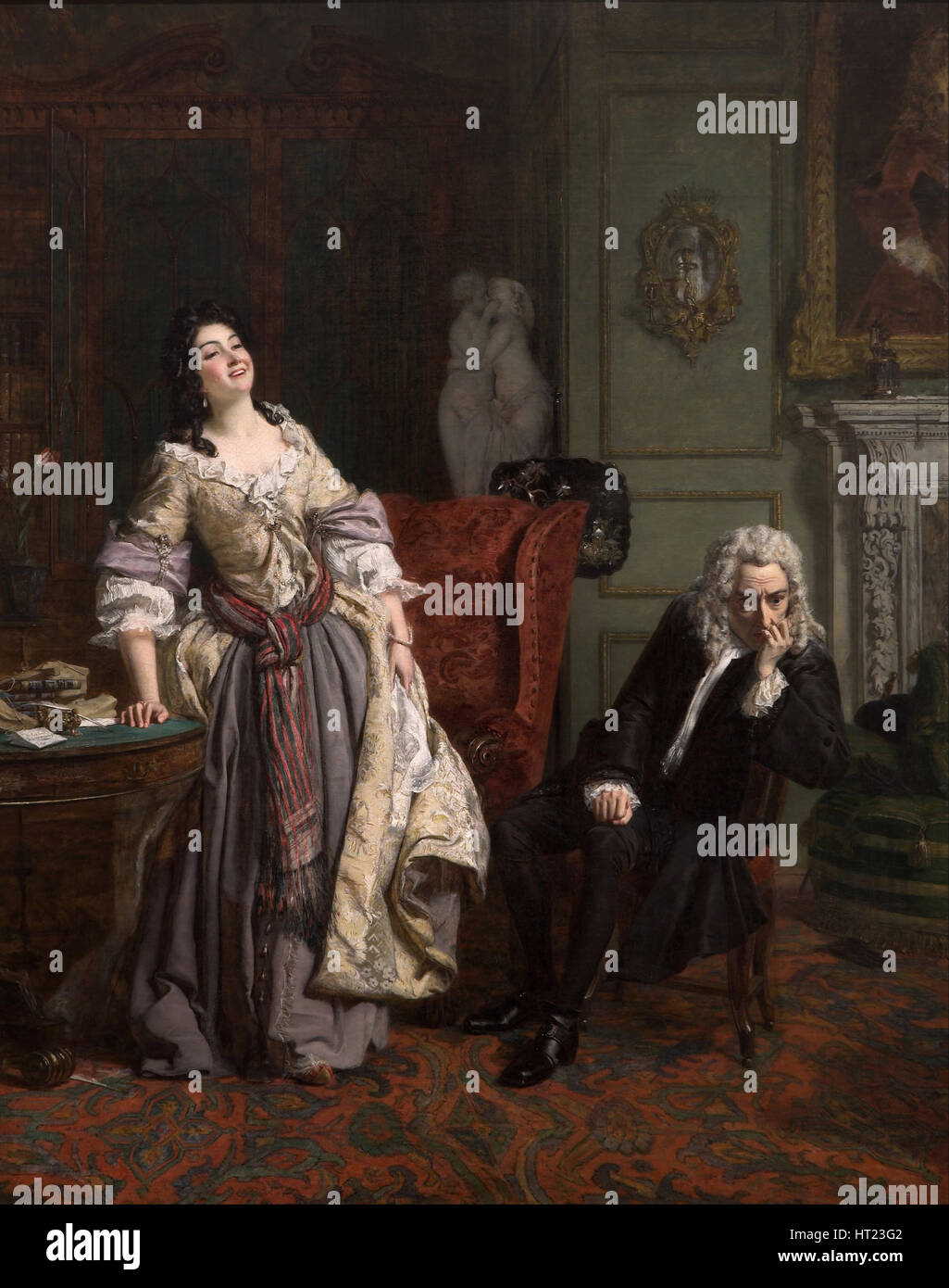 Alexander Pope declared his love to Lady Mary Wortley Montagu, 1852. Artist: Frith, William Powell (1819-1909) - Stock Image