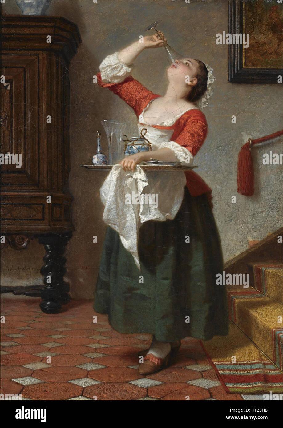 Das Naschkaetzchen, 1862. Artist: Amberg, Wilhelm August (1822-1899) - Stock Image