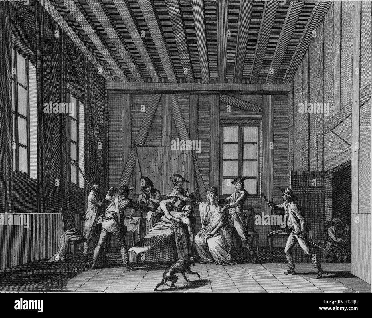 The Assassination of Jean-Paul Marat, c. 1795. Artist: Berthault, Pierre Gabriel (1748-1819) - Stock Image