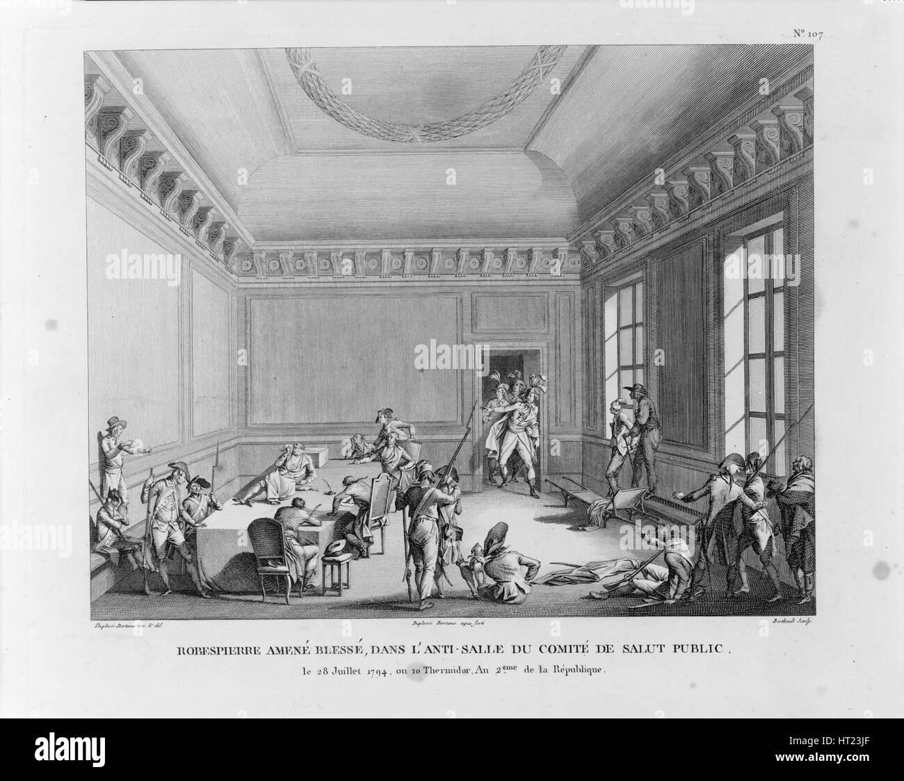 The Arrest of Robespierre on 27 July 1794, 1794. Artist: Berthault, Pierre Gabriel (1748-1819) - Stock Image
