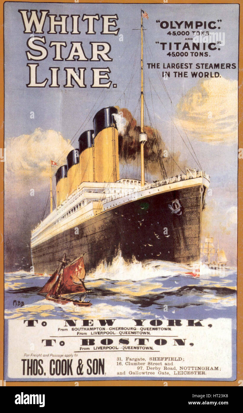 White Star Line. Titanic & Olympic, c. 1911. Artist: Anonymous - Stock Image