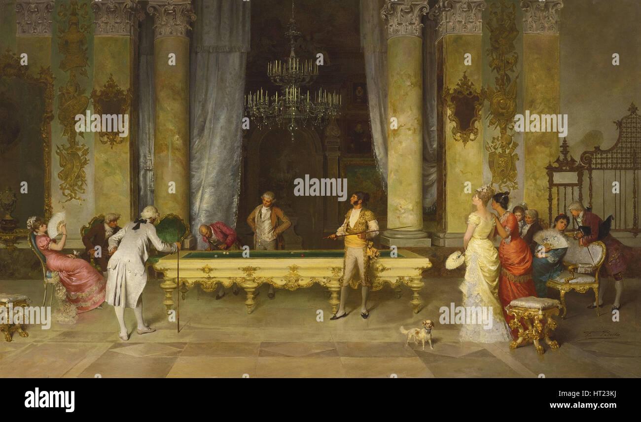 Game of Billiards. Artist: Beda, Francesco (1840-1900) - Stock Image