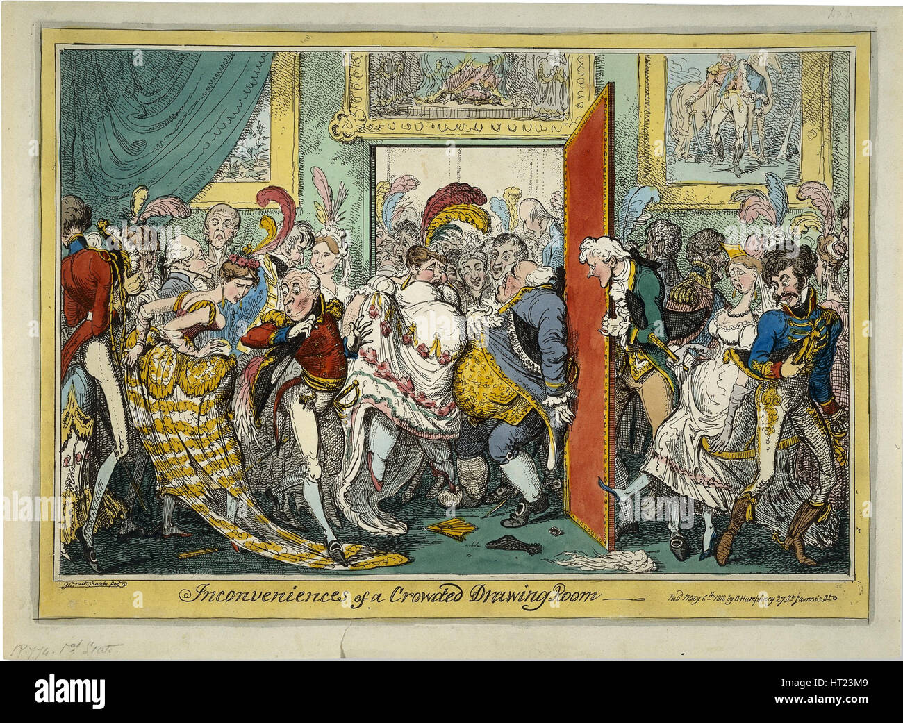 The Inconveniences of a Crowded Drawing Room, 1818. Artist: Cruikshank, George (1792-1878) - Stock Image