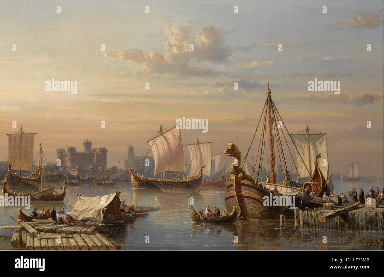Viking ships on the River Thames, Mid of the 19th century. Artist: Koster, Everhardus (1817-1892) - Stock Image