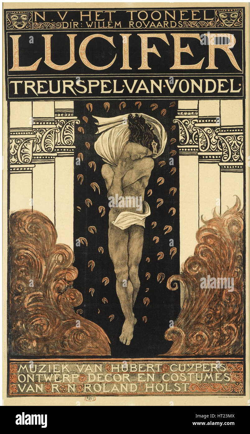 Poster for the play Lucifer, 1910. Artist: Holst, Richard Roland (1868-1938) - Stock Image