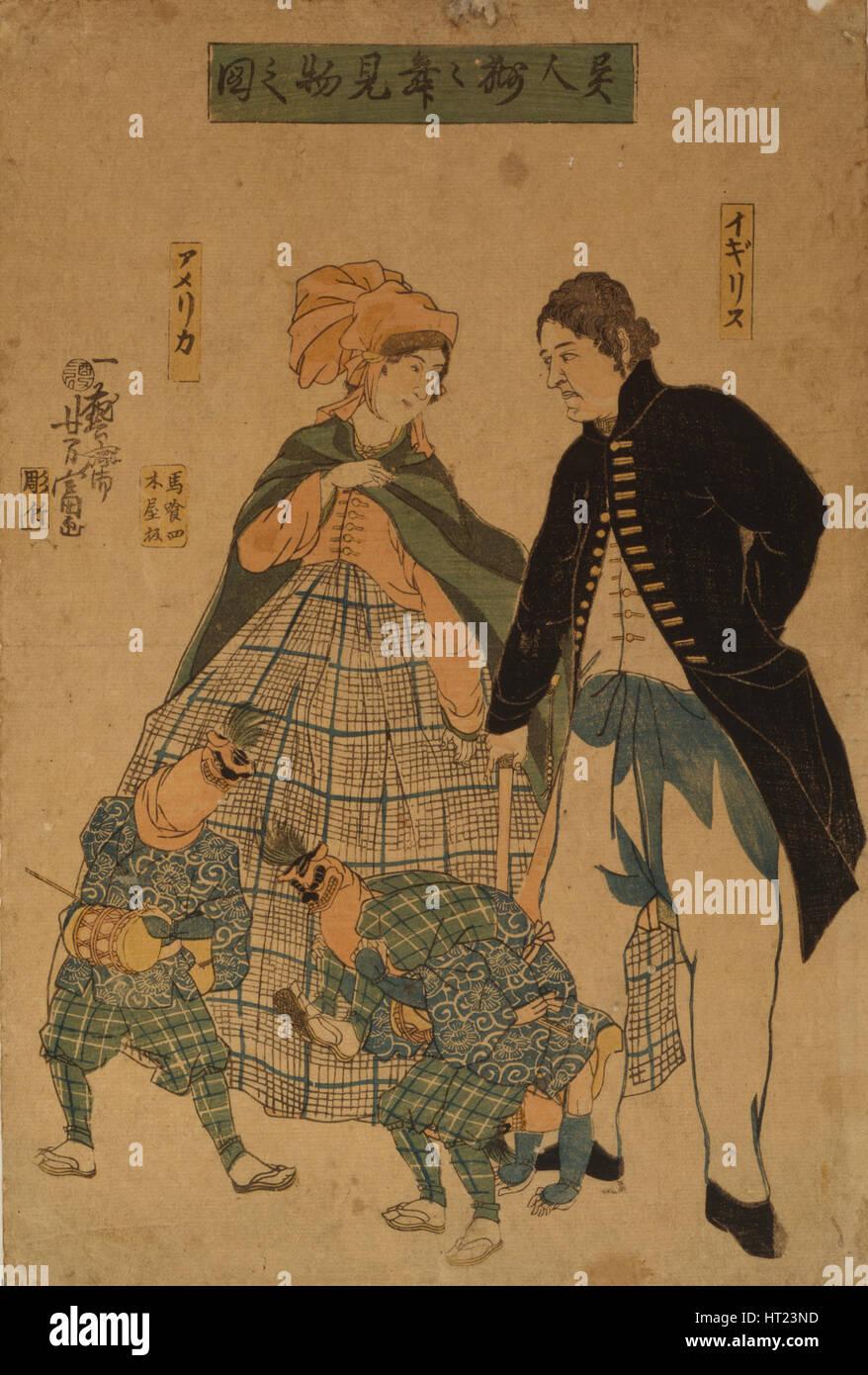 Foreigners watching New Year's dance, 1861. Artist: Utagawa, Yoshitomi (active 1850-1870) - Stock Image