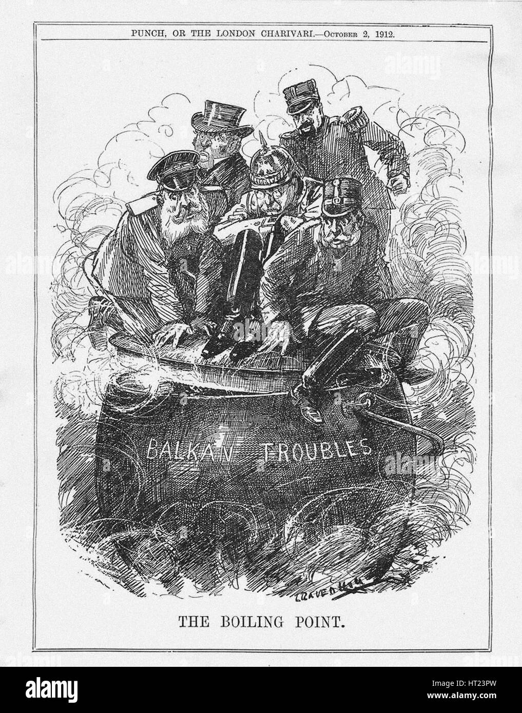 The Boiling Point. Punch Magazine, October 2, 1912, 1912. Artist: Raven-Hill, Leonard (1867-1942) - Stock Image