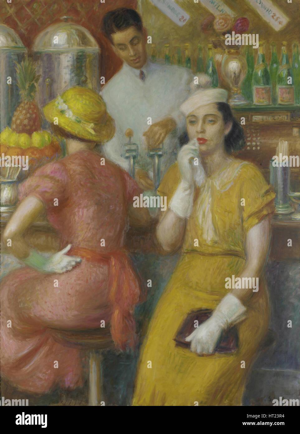 The Soda Fountain, 1935. Artist: Glackens, William James (1870-1938) - Stock Image