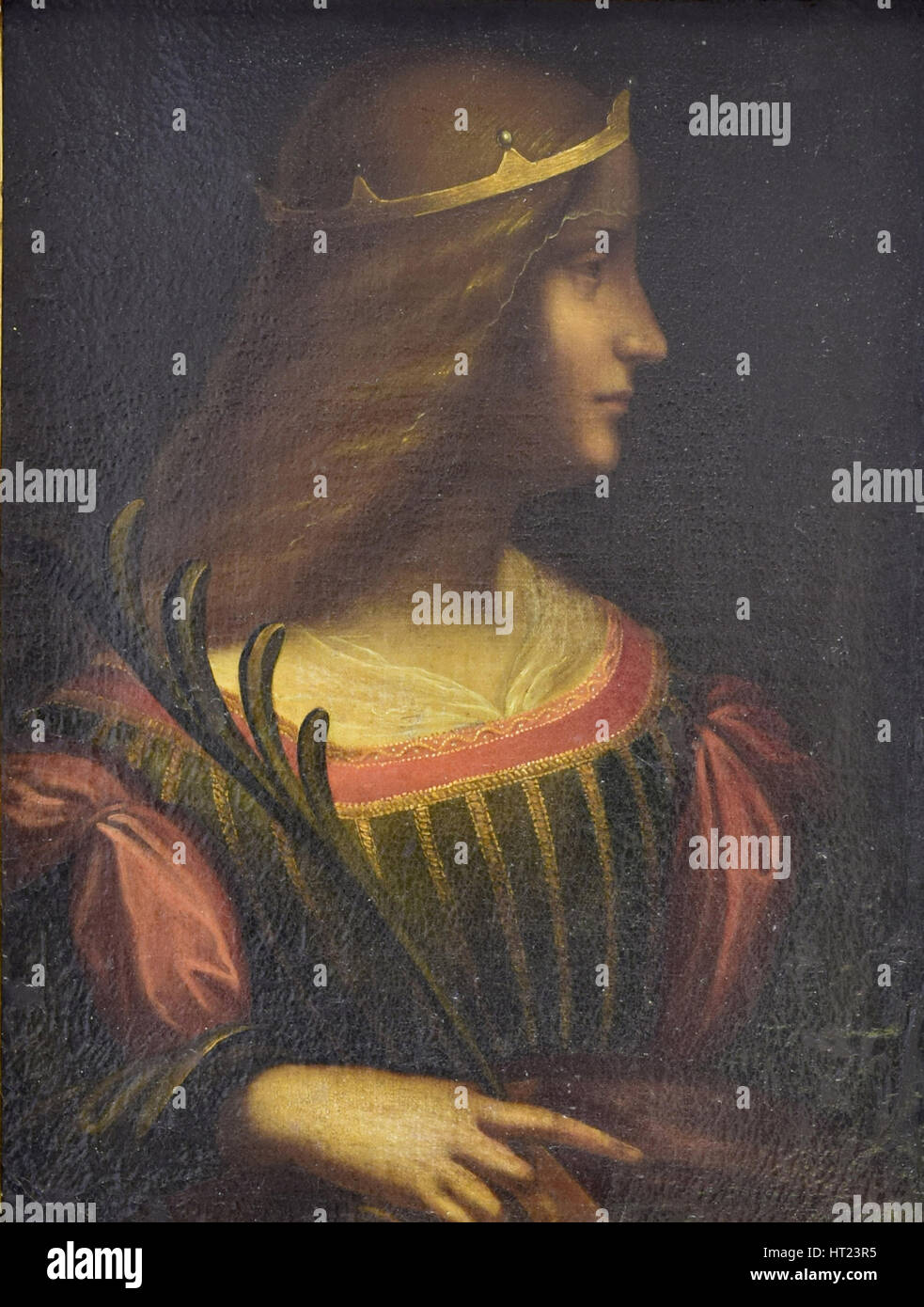 Portrait of Isabella d'Este, c. 1510. Artist: Leonardo da Vinci, (attributed) - Stock Image