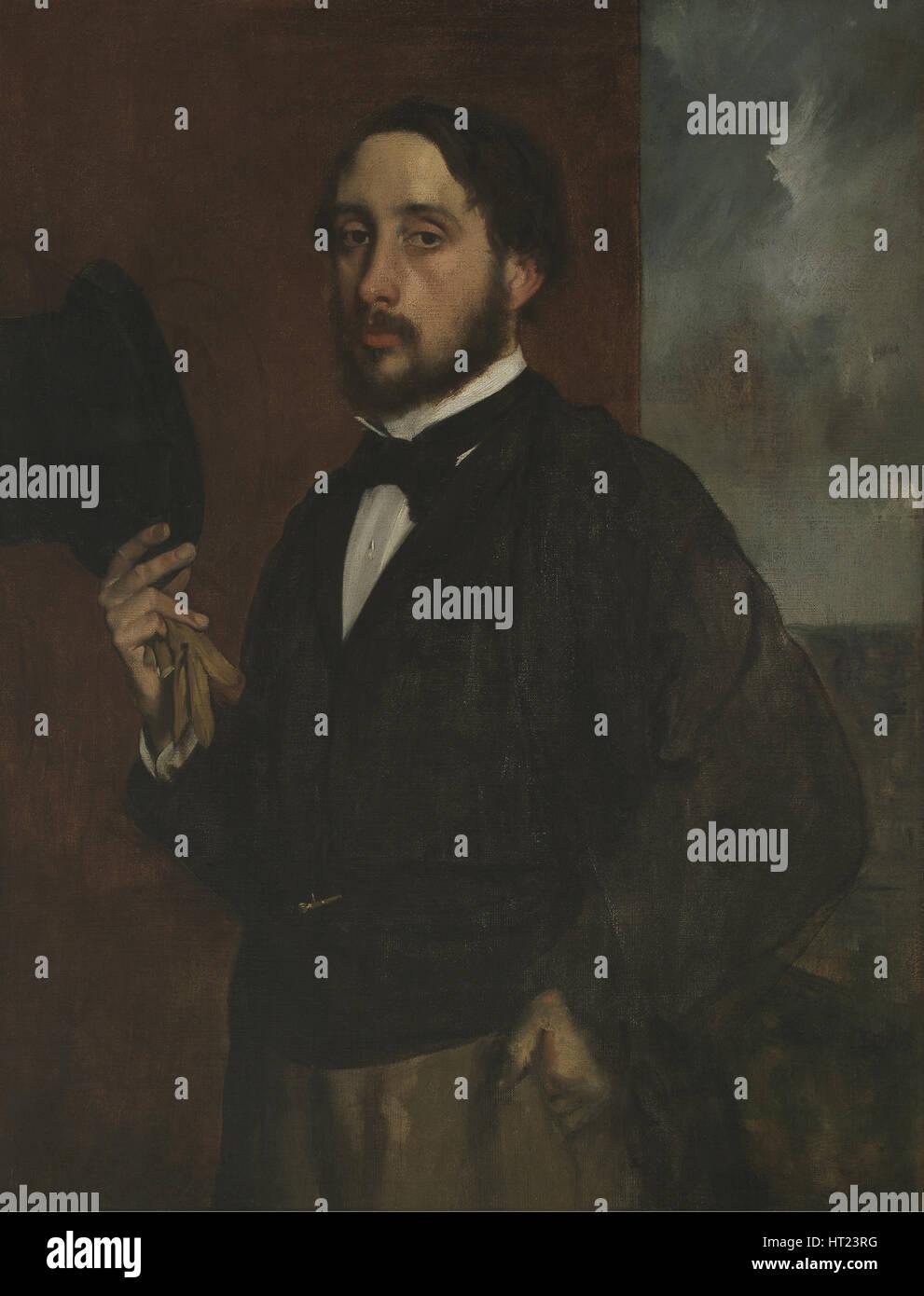 Self-portrait with Raised Hat, ca 1863. Artist: Degas, Edgar (1834-1917) - Stock Image