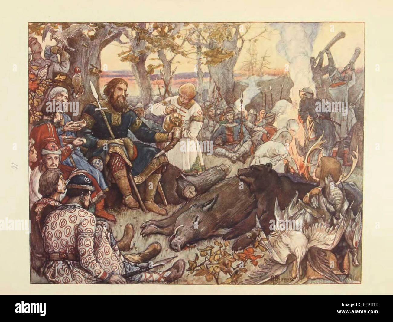 Rest of Grand Prince Vladimir II Monomakh on the Hunt. (The Imperial Hunt in Russia by N. Kutepov),  Artist: Vasnetsov, Stock Photo