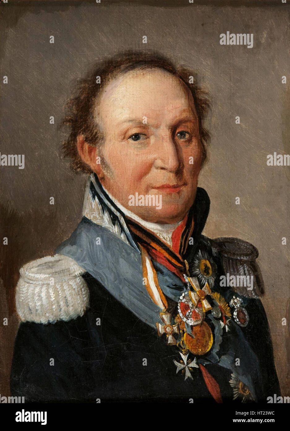 Portrait of Field Marshal Count Ludwig Adolf Peter of Sayn-Wittgenstein-Ludwigsburg (1769-1843). Artist: Boilly, - Stock Image