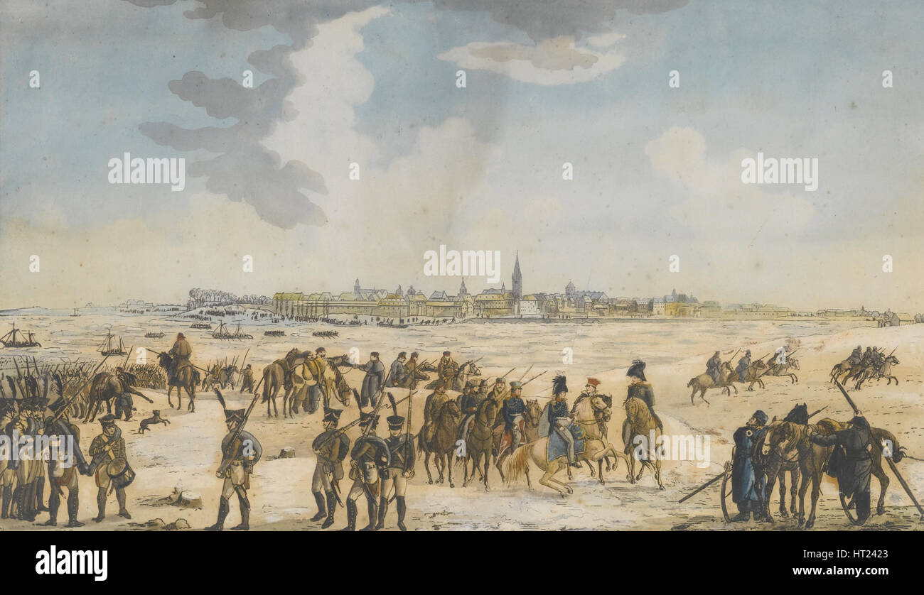 The Crossing of the Rhine near Düsseldorf by the Russian Army, 13 January 1814, 1814. Artist: Anonymous - Stock Image