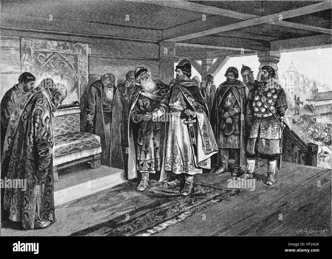 Iziaslav II Mstislavich and Viacheslav I Vladimirovich, 1890. Artist: Lebedev, Klavdi Vasilyevich (1852-1916) - Stock Image