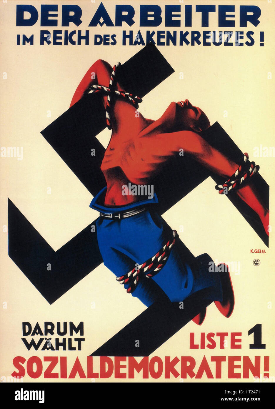 The worker under the swastika state! Therefore choose list 1, the Social Democrats!, 1932. Artist: Geiss, Karl (active - Stock Image