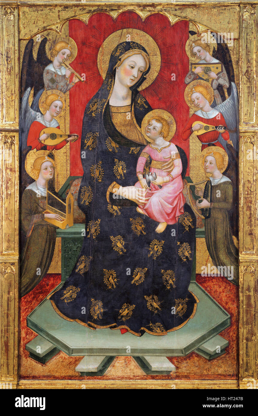 Madonna with Angels Playing Music, ca 1380. Artist: Serra, Pere (active ca 1357-1406) - Stock Image