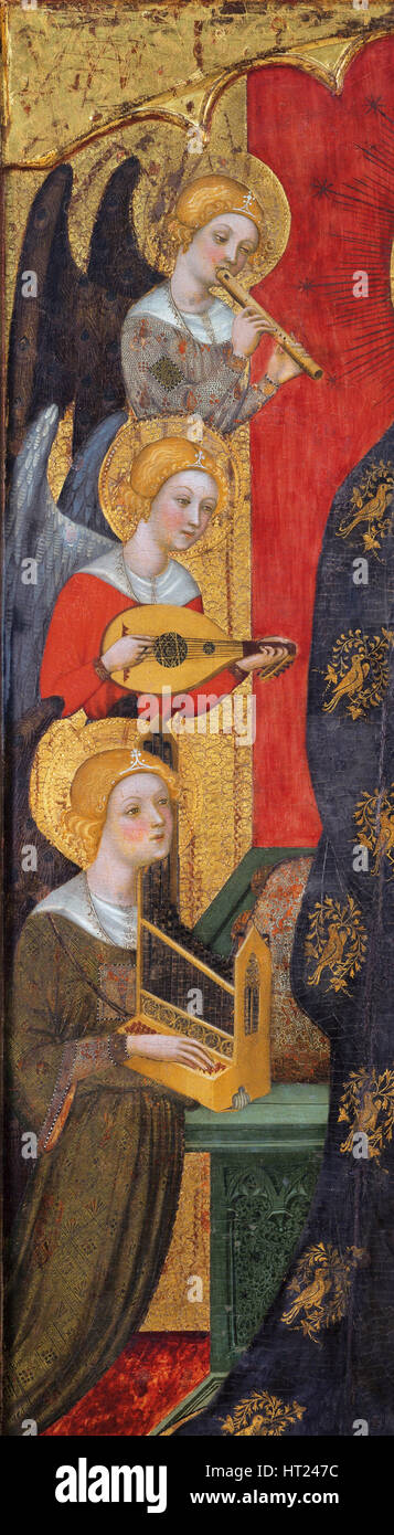 Madonna with Angels Playing Music (Detail), ca 1380. Artist: Serra, Pere (active ca 1357-1406) - Stock Image