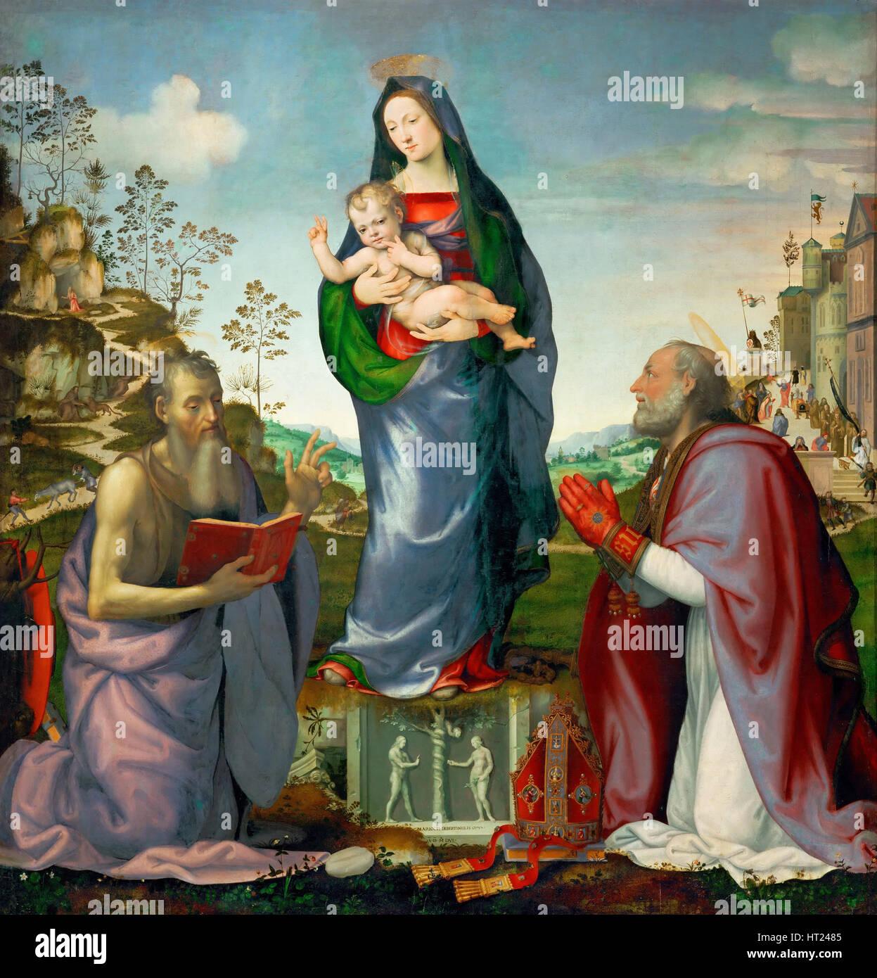 Madonna and Child with Saints James and Zenobius, 1506. Artist: Albertinelli, Mariotto (1474-1515) - Stock Image