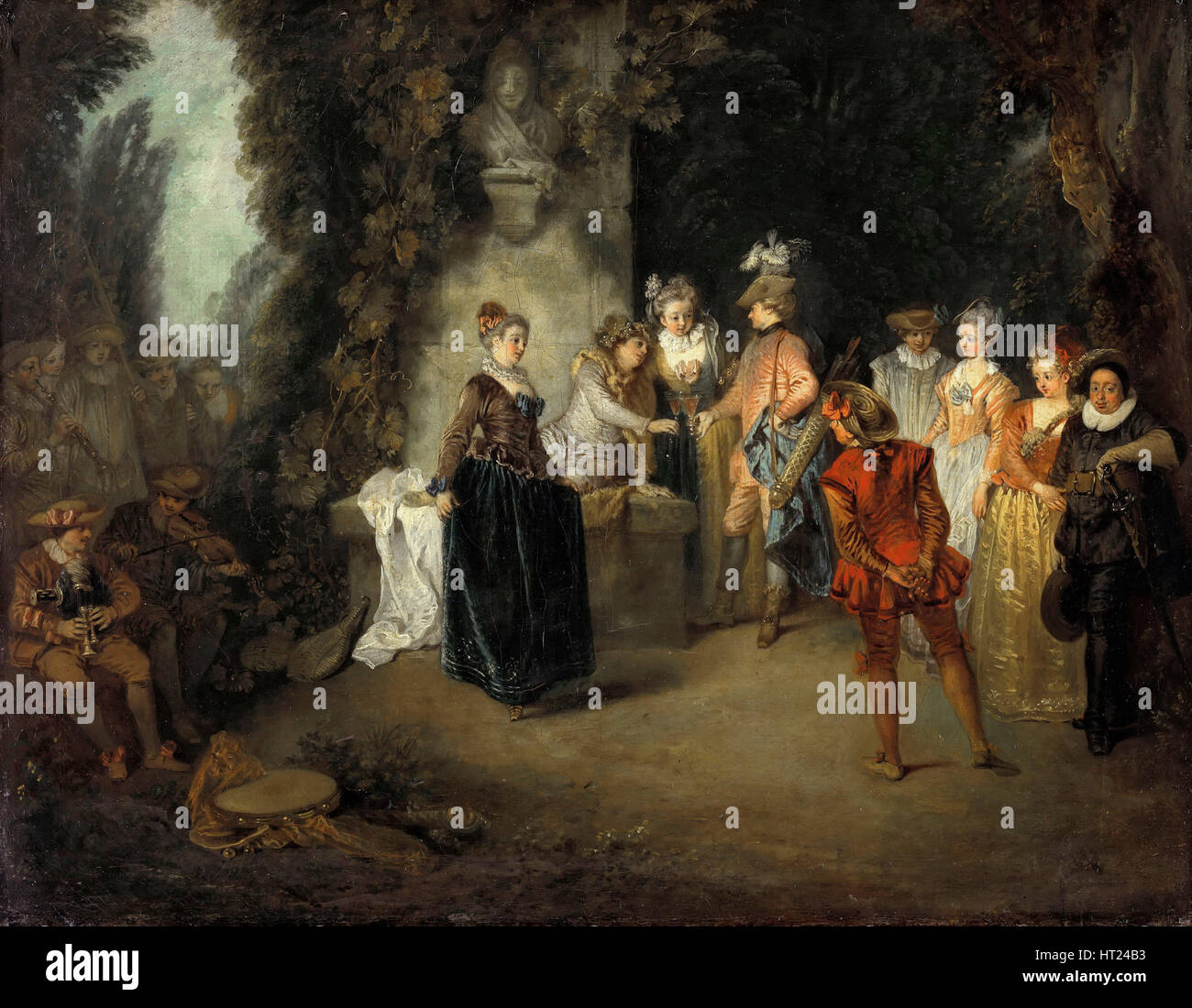 The French Comedy, after 1716. Artist: Watteau, Jean Antoine (1684-1721) - Stock Image