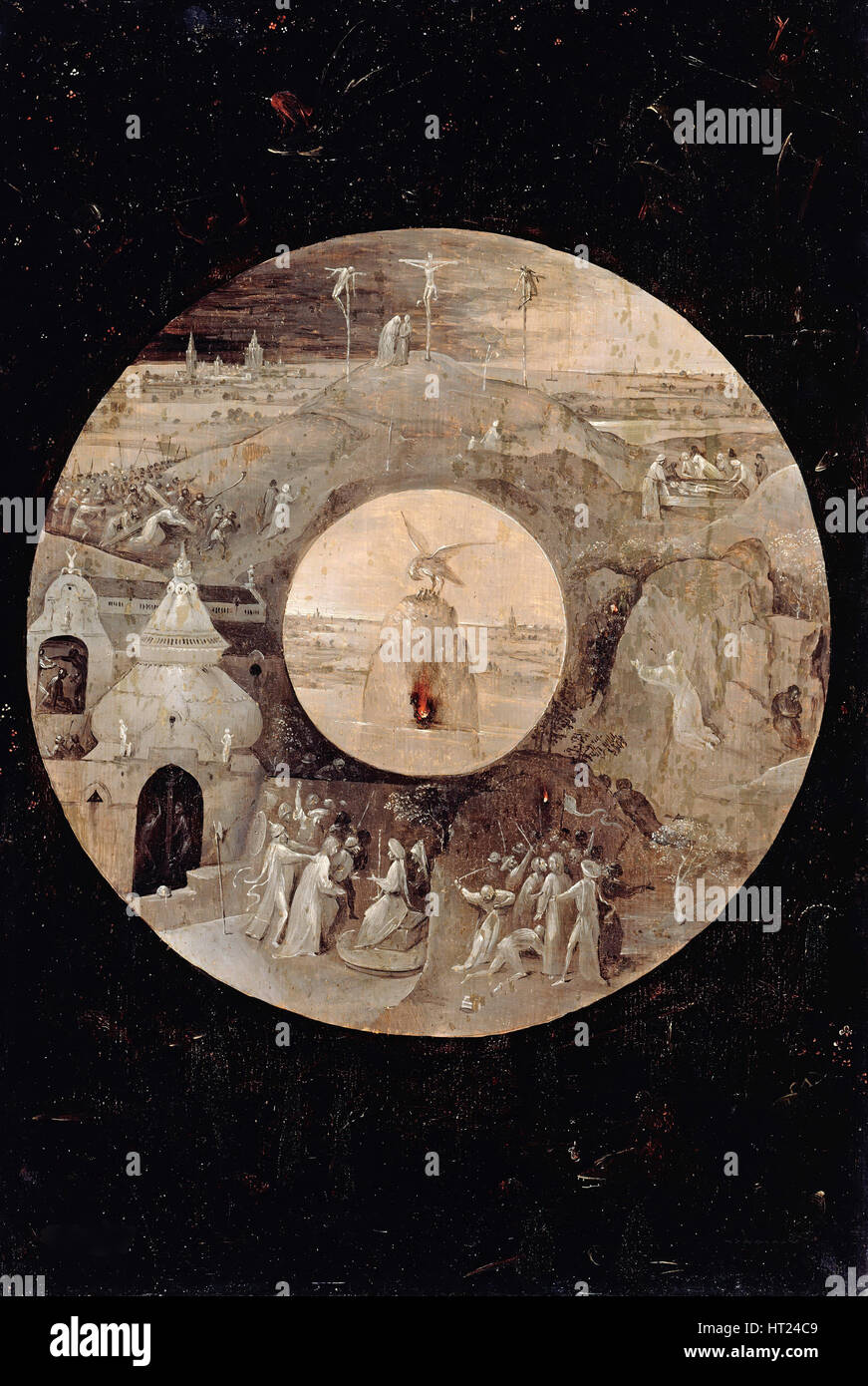 Saint John the Evangelist on Patmos (Reverse side). The Passion of the Christ, c. 1505. Artist: Bosch, Hieronymus - Stock Image