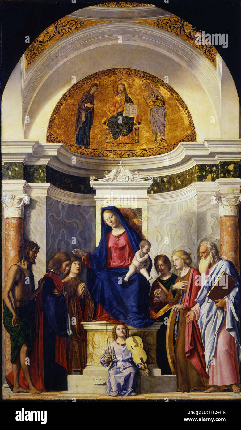 Virgin and Child with Saints John the Baptist, Cosmas and Damian, Catherine and Paul, ca 1506-1507. Artist: Cima - Stock Image