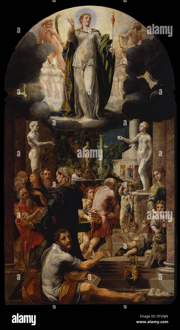 The Immaculate Conception of the Virgin, 1539. Artist: Mazzola Bedoli, Girolamo (c. 1500-1569) - Stock Image