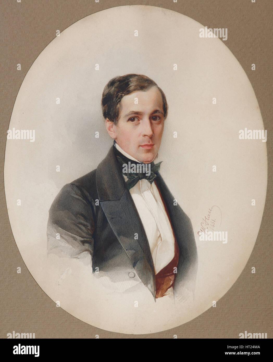 Portrait of Fyodor Nikolayevich Chelishchev (1811-1881), 1851. Artist: Hau (Gau), Vladimir Ivanovich (1816-1895) Stock Photo