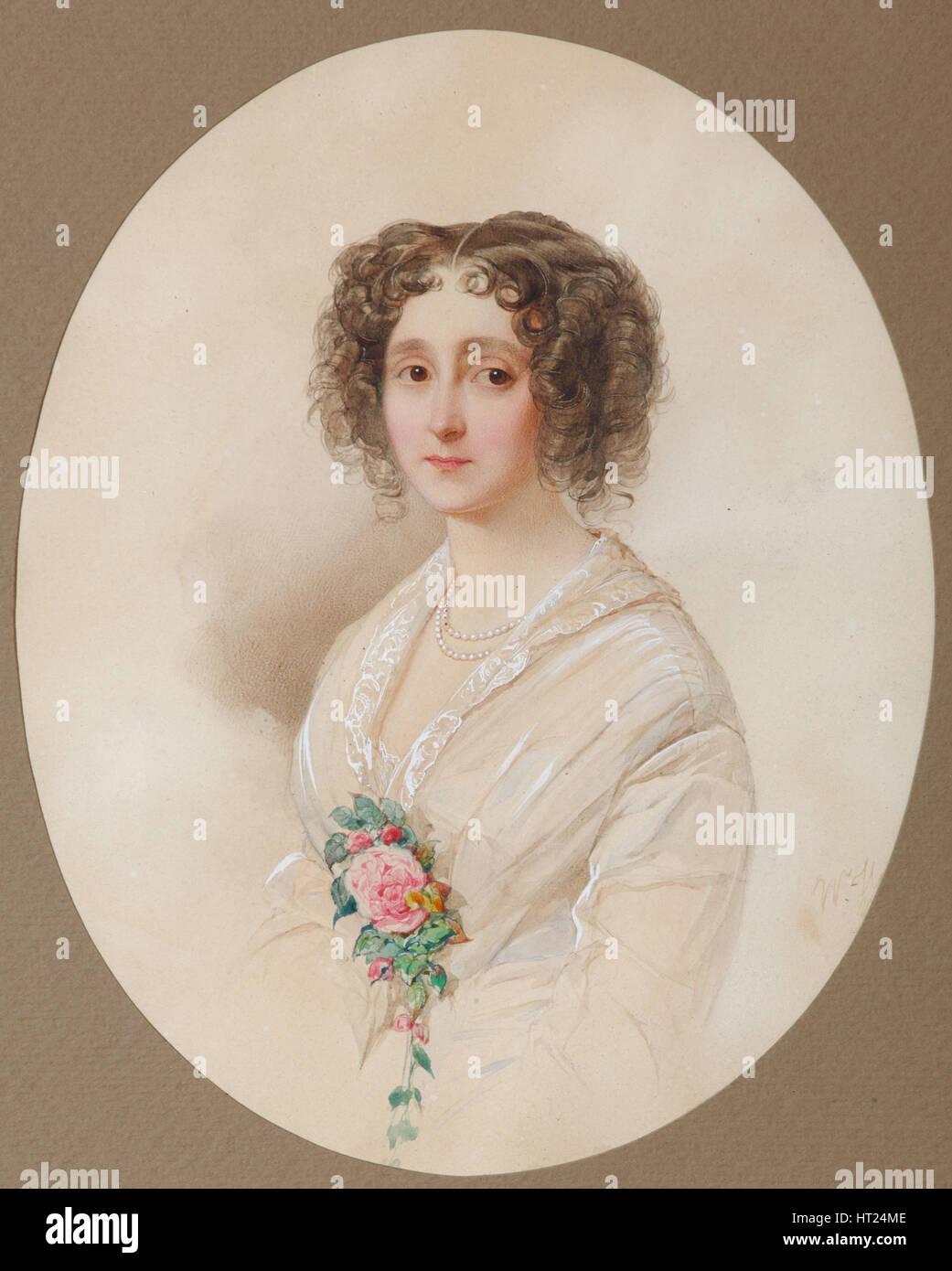 Portrait of Alexandra Mikhaylovna Chelishcheva (1816-1913), 1851. Artist: Hau (Gau), Vladimir Ivanovich (1816-1895) Stock Photo