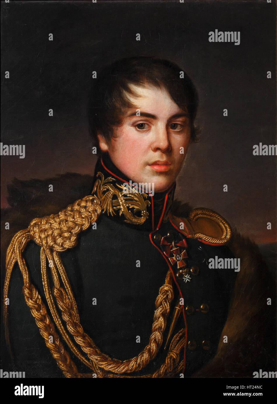 Portrait of Count Vladimir Stepanovich Apraksin (1796-1833), ca 1812. Artist: Svintsov, S.S. (active 1810s) - Stock Image