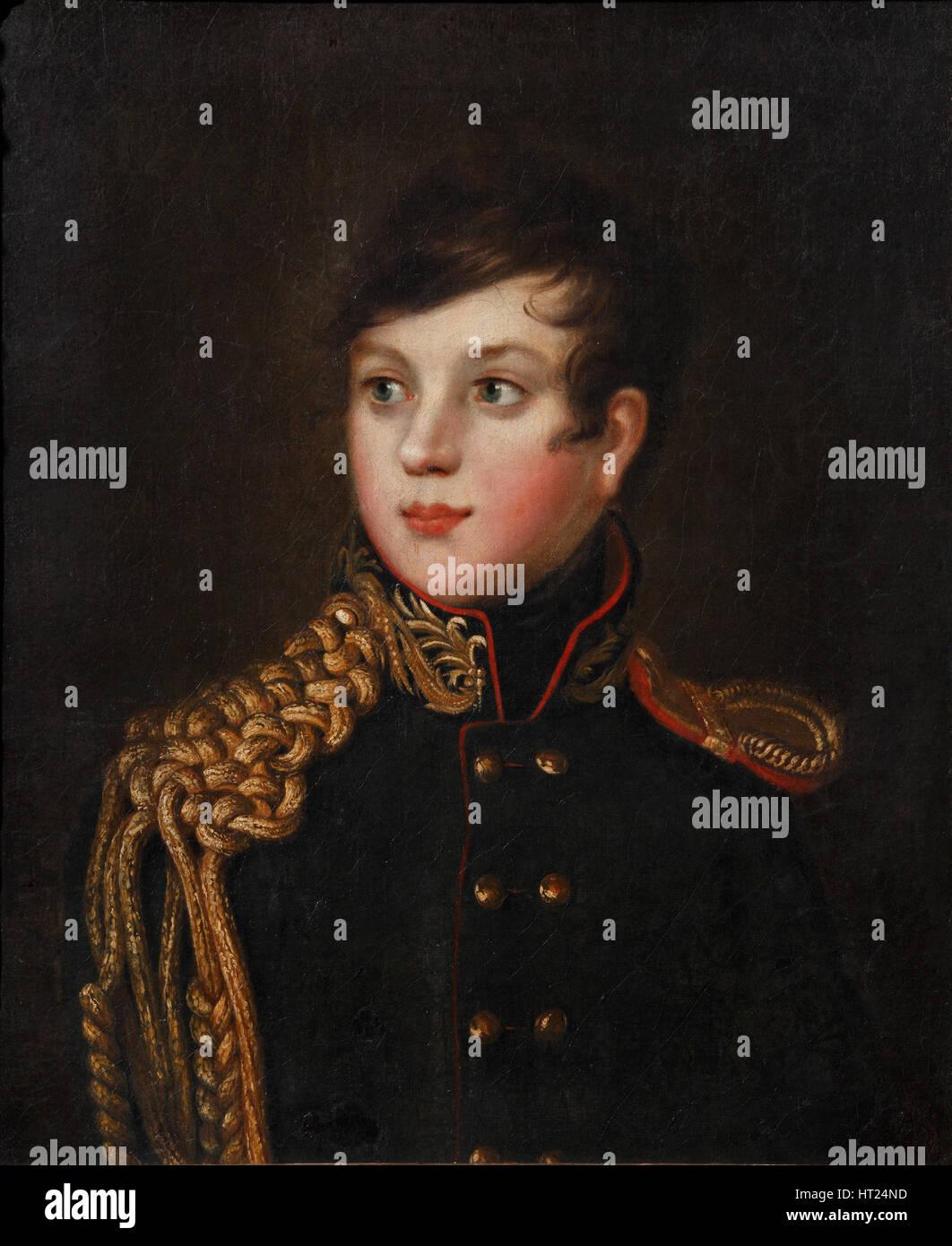 Portrait of Prince Alexander Pavlovich Stroganov (1795-1814), ca 1812. Artist: Svintsov, S.S. (active 1810s) - Stock Image