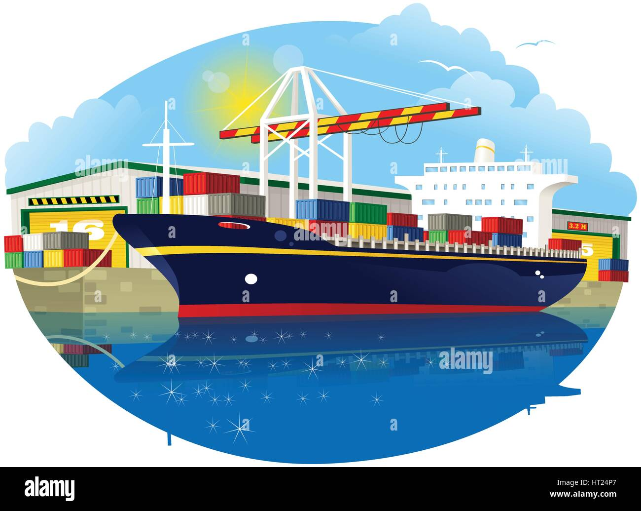 An illustration of a typical small container ship docked at the quayside while being loaded up by crane. - Stock Vector