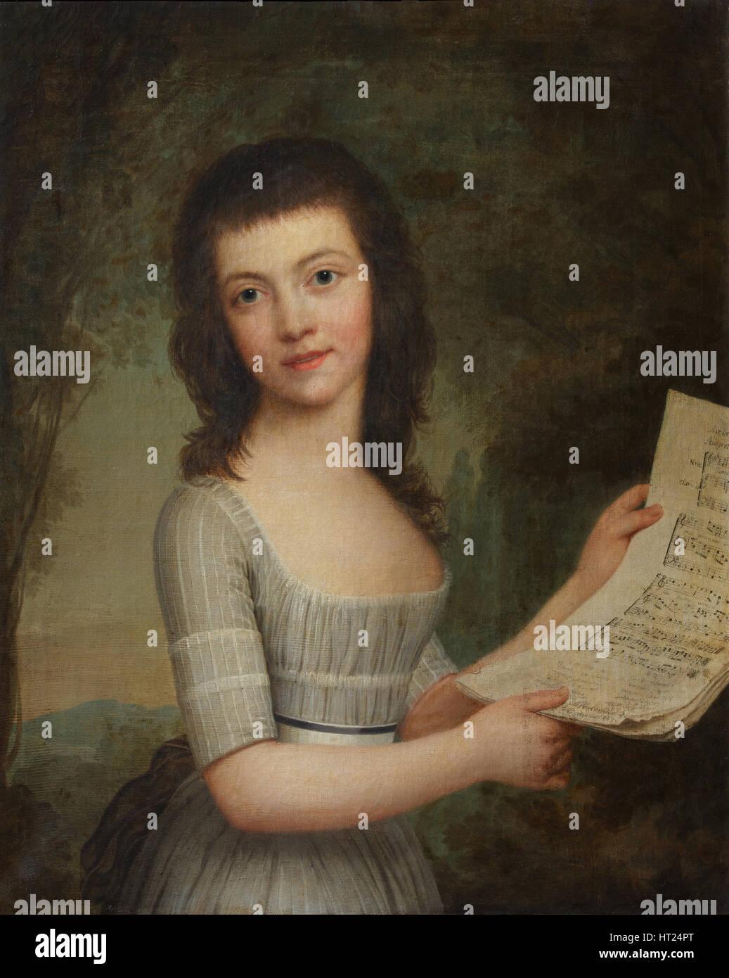 Portrait of Mademoiselle Wittfooth, 1789. Artist: Wertmüller, Adolf Ulrik (1751-1811) - Stock Image