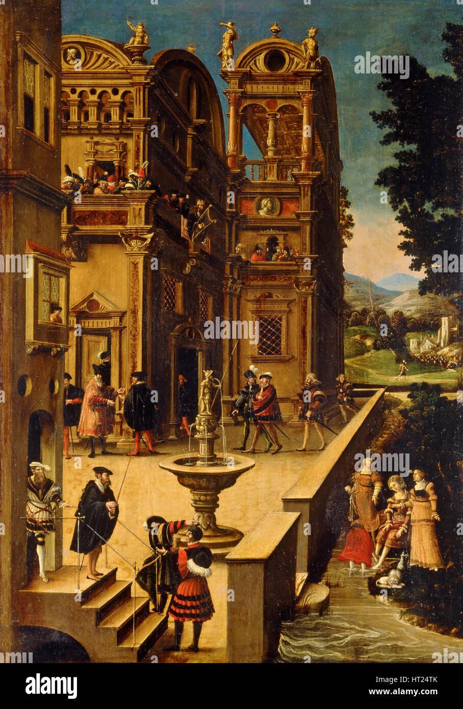 Bathsheba at Her Bath, after 1537. Artist: Beham, Hans Sebald (1500-1550) - Stock Image